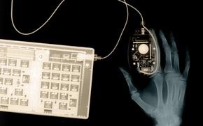 Обои рука, рентген, клавиатура