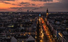 Картинка облака, проспект, башня, Германия, трафик, церковь, сумерки, автомобили, Берлин, дымовые трубы