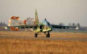 Картинка Грач, Су-25УБ, штурмовик, парашюты, Су-25