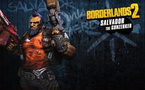 Картинка оружие, злость, мужик, пушка, борода, качок, RPG, 2K Games, Borderlands 2, Сальвадор, Gunzerker, Gearbox Software, …
