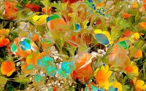 Картинка цветы, рендеринг, лепестки, сад, луг