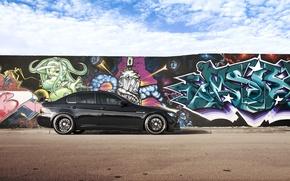 Обои небо, облака, чёрный, граффити, бмв, BMW, black, E90