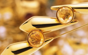 Картинка золото, украшение, сережки, цитрин