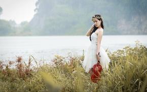 Картинка девушка, музыка, дождь, скрипка, азиатка