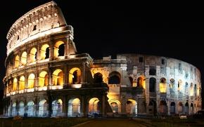 Картинка ночь, Рим, Колизей, Италия