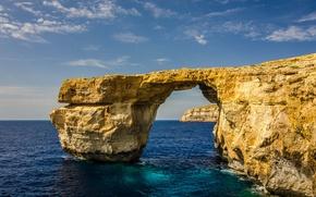 Картинка море, небо, скала, остров, арка, Мальта, Гозо