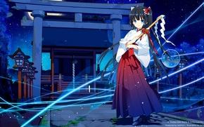 Картинка небо, девушка, звезды, ночь, луна, аниме, арт, кимоно, kirino kasumu