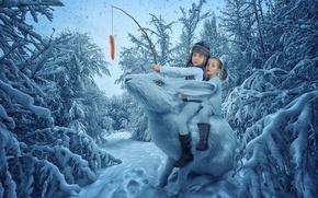 Картинка зимний лес, снежный заяц, морковка, дети, девочки