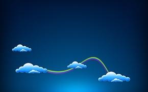Картинка минимализм, радуга, синий, облака