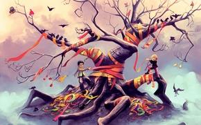 Картинка птицы, дети, ленты, фантазия, дерево, арт, шапки