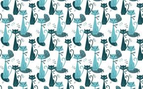 Картинка кошка, фон, текстура, арт, детская