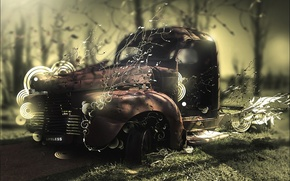 Обои машина, авто, лес