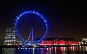 Картинка вечерний город, иллюминация, подсветка, отражение, дома, Англия, Лондон, огни, колесо обозрения, Великобритания, здания, набережная, река