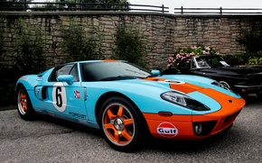 Картинка оранжевый, стена, голубой, черный, Ford, wall, mercedes, black, форд, мерседес, blue, flowers, orange, gt40