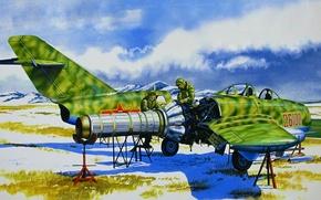 Картинка art, painting, jet, Mikoyan-Gurevich MiG-15