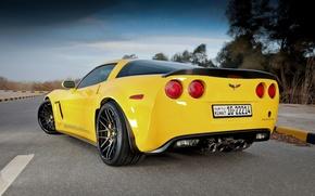 Картинка дорога, жёлтый, разметка, corvette, шевроле, chevrolet, yellow, задок, grand sport, корветт, гранд спорт