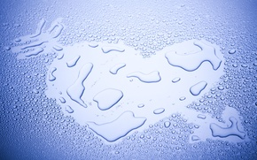 Картинка вода, капли, любовь, фон, голубой, обои, настроения, сердце, wallpaper, сердечко, широкоформатные, background, полноэкранные, HD wallpapers, ...
