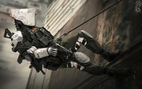 Картинка пистолет, фантастика, стена, робот, киборг, киберпанк, swat, спецназ