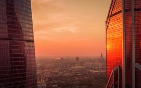 Обои evening, urban, architecture, outdoor, dark, light, orange, deep, business, building, Moscow, sun, view, horizon, clouds, ...
