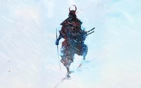 Картинка снег, рисунок, катана, воин, силуэт, арт, самурай, метель, yukioni bishamon