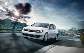 Обои белый, скорость, Volkswagen, Golf VI GTI