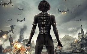 Обои апокалипсис, Alice, Retribution, вертолеты, взрыв, Возмездие, Обитель зла, Resident Evil, Милла Йовович, .Milla Jovovich, кремль