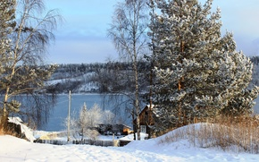 Картинка зима, снег, деревья, природа, река, фото, Россия