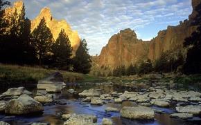 Обои скала, озеро, камни