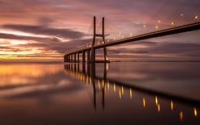 Картинка мост, огни, вечер, Португалия