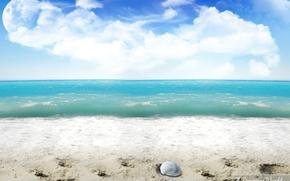 Картинка песок, волны, планета, Пляж, обработка