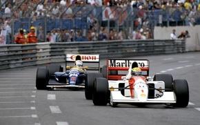 Картинка Ayrton Senna, Nigel Mansell, McLaren MP4/7, Williams FW14B, GP Monaco, Season 1992