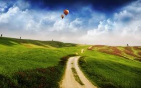 Обои 157, поле, холмы, Дорога, шары, облака