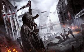 Обои Небо, Туман, Город, Дым, Огонь, Люди, Свет, Апокалипсис, Флаги, Здания, Оружие, Пламя, Crytek, Ситуация, Deep ...