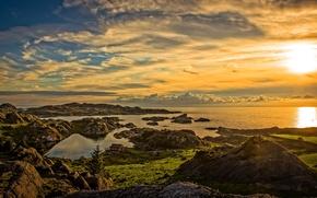 Картинка облака, пейзаж, закат, природа, побережье, панорама, домики