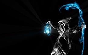 Обои свет, смерть, дым, фонарь, коса, чёрный фон