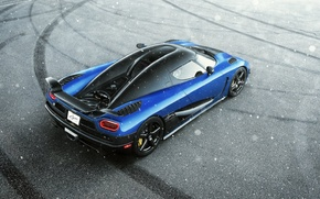 Картинка Koenigsegg, Blue, Snow, Agera, View, Supercar, Rear, Top