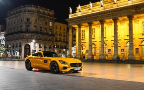 Картинка Mercedes-Benz, Front, AMG, Square, Night, Place, Yellow, Supercar, 2015, GT S
