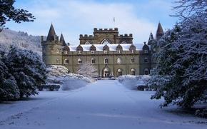 Картинка парк, снег, зима, деревья, замок, башня, небо, облака