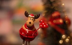Картинка праздник, игрушка, новый год, рождество, олень, рождественский олень