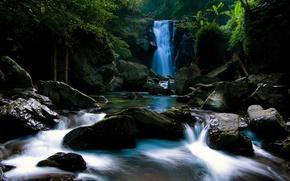 Картинка камни, Водопад, джунгли