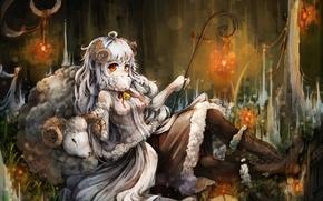 Картинка девушка, животное, аниме, арт, рога, овечка, kajaneko