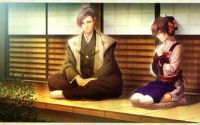 Картинка прическа, кимоно, двое, веранда, visual novel, toki no kizuna, yukina suzmori, motoyasu mouri, by miko