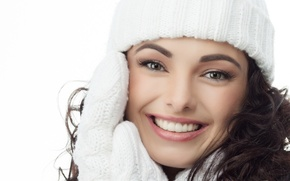 Картинка шапка, Девушка, girl, hat, рукавицы, mittens