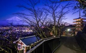 Картинка дорога, вечер, Tokyo, Japan, Фудзияма, Senso-ji temple, пагода храма Сэнсо-дзи