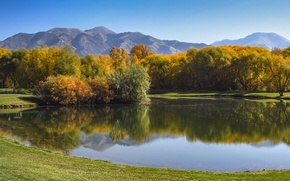 Картинка лес, горы, озеро, Осень, forest, autumn, mountains, lake, fall