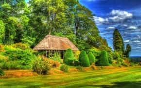Обои зелень, трава, деревья, дизайн, поля, HDR, Великобритания, навес, кусты, лавочки, Chirk Castle Gardens