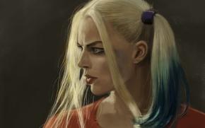Картинка девушка, рисунок, арт, блондинка, косички, персонаж, Харли Квинн, Harley Quinn, Margot Robbie, Марго Робби, Suicide ...