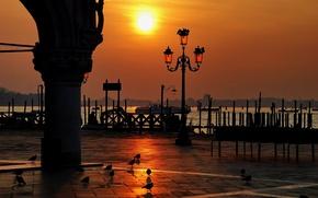 Картинка вода, закат, венеция, италия, площадь сан-марко, вонарь, дворец дожей