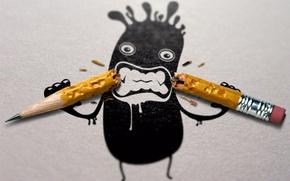 Обои клякса, карандаш, сломанный