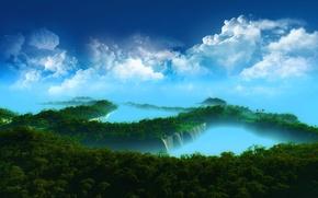 Обои деревья, острова, облака